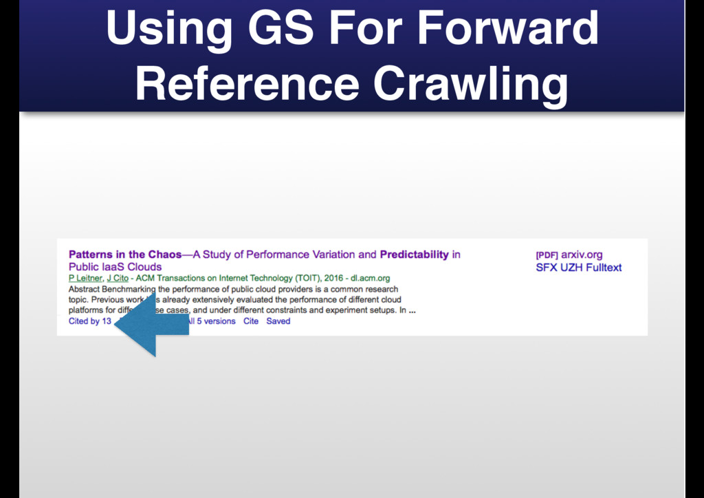 Using GS For Forward Reference Crawling