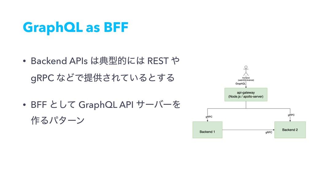 GraphQL as BFF • Backend APIs యܕతʹ REST  gRP...