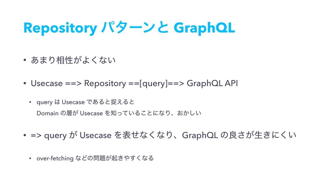 Repository ύλʔϯͱ GraphQL • ͋·Γ૬ੑ͕Α͘ͳ͍ • Usecase...