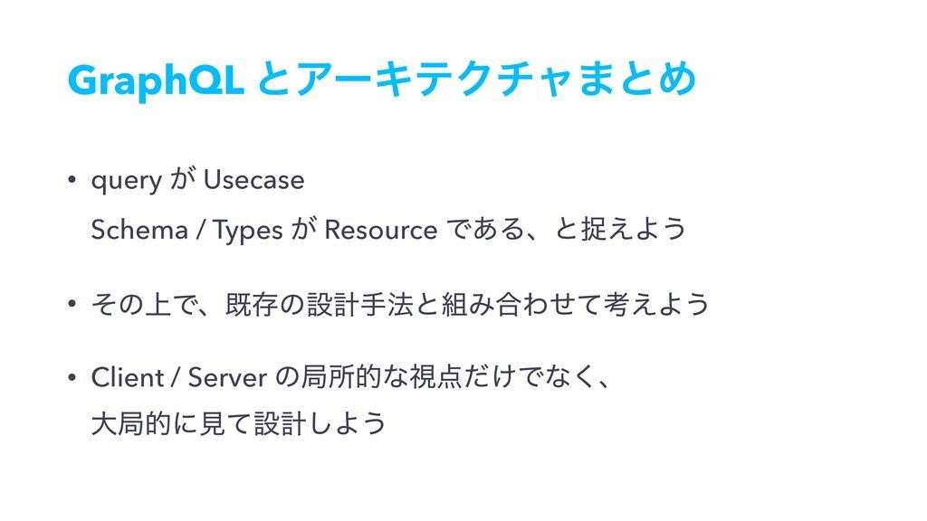 GraphQL ͱΞʔΩςΫνϟ·ͱΊ • query ͕ Usecase Schema /...
