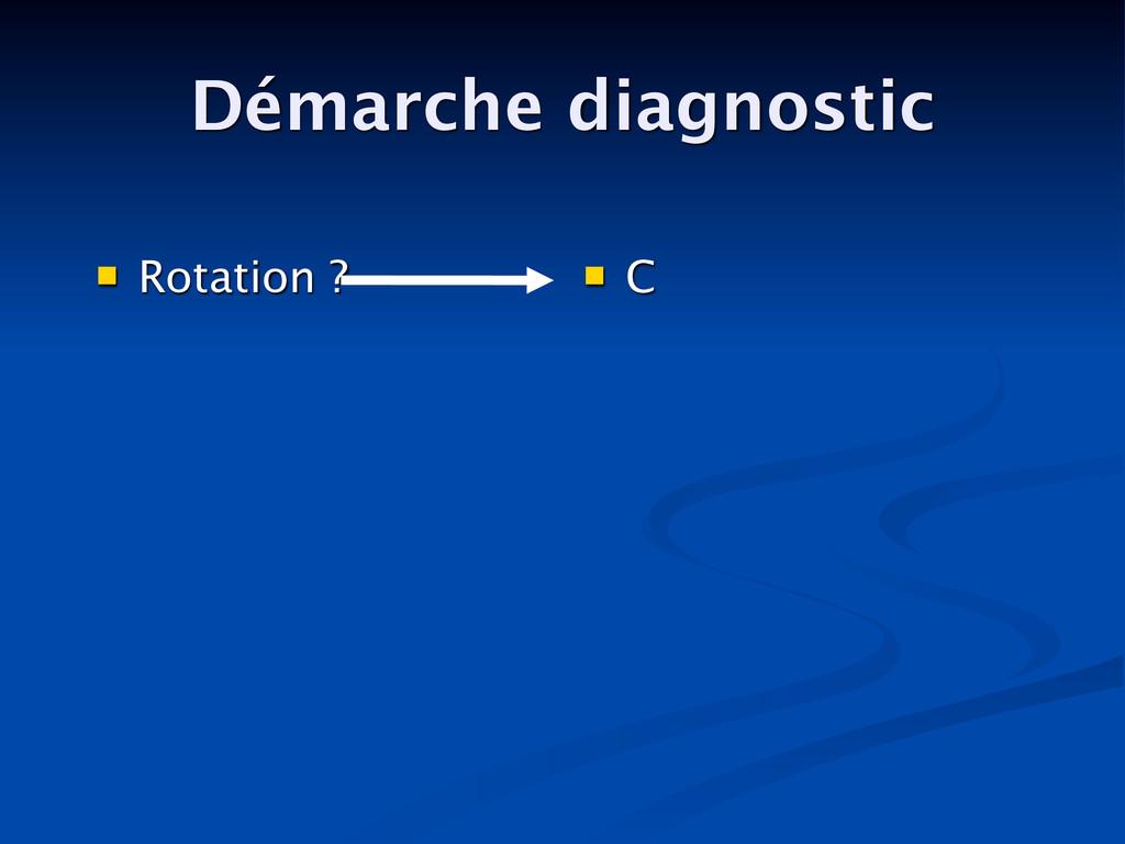 Démarche diagnostic  Rotation ?  C