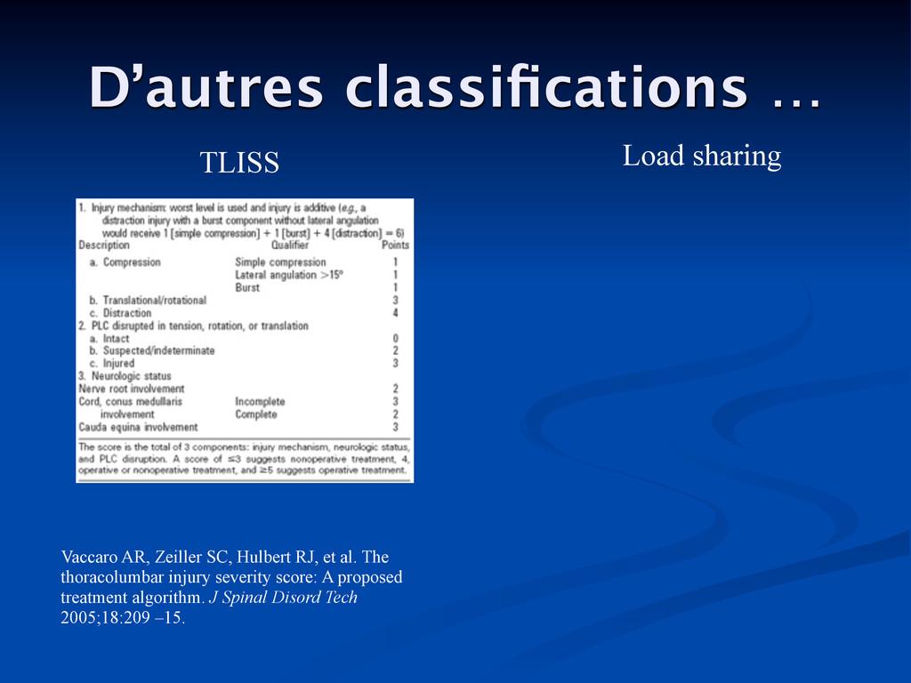 D'autres classifications … Load sharing TLISS Va...