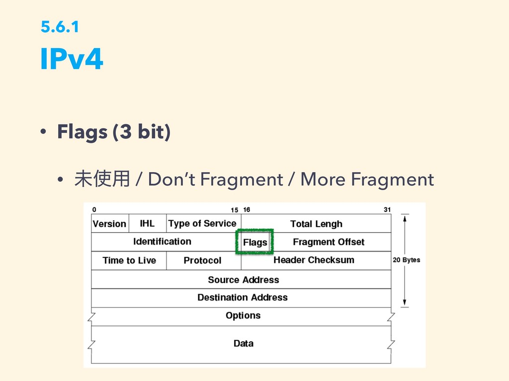 IPv4 5.6.1 • Flags (3 bit) • ະ༻ / Don't Fragme...