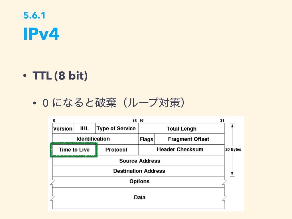IPv4 5.6.1 • TTL (8 bit) • 0 ʹͳΔͱഁغʢϧʔϓରࡦʣ