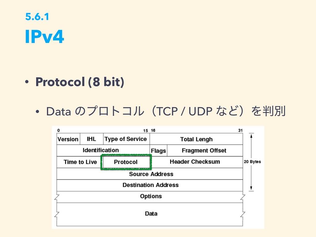IPv4 5.6.1 • Protocol (8 bit) • Data ͷϓϩτίϧʢTCP...
