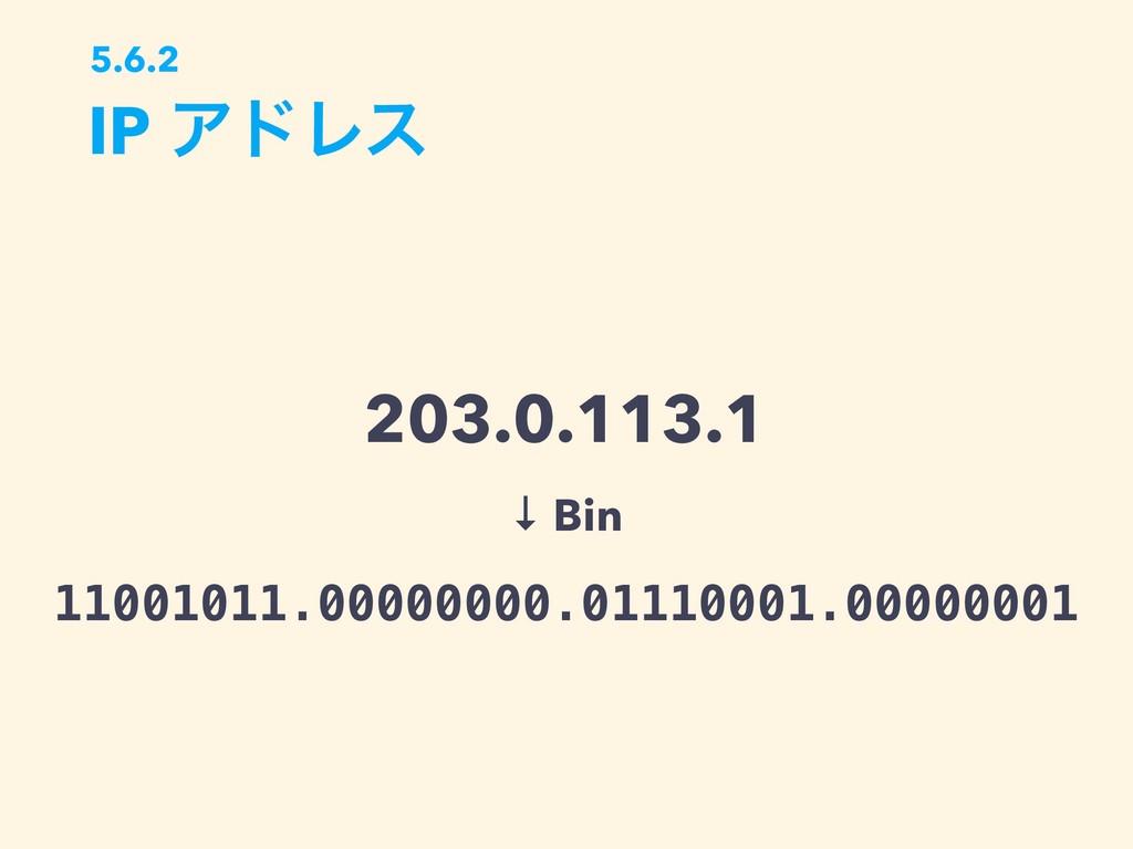 IP ΞυϨε 5.6.2 203.0.113.1 11001011.00000000.011...