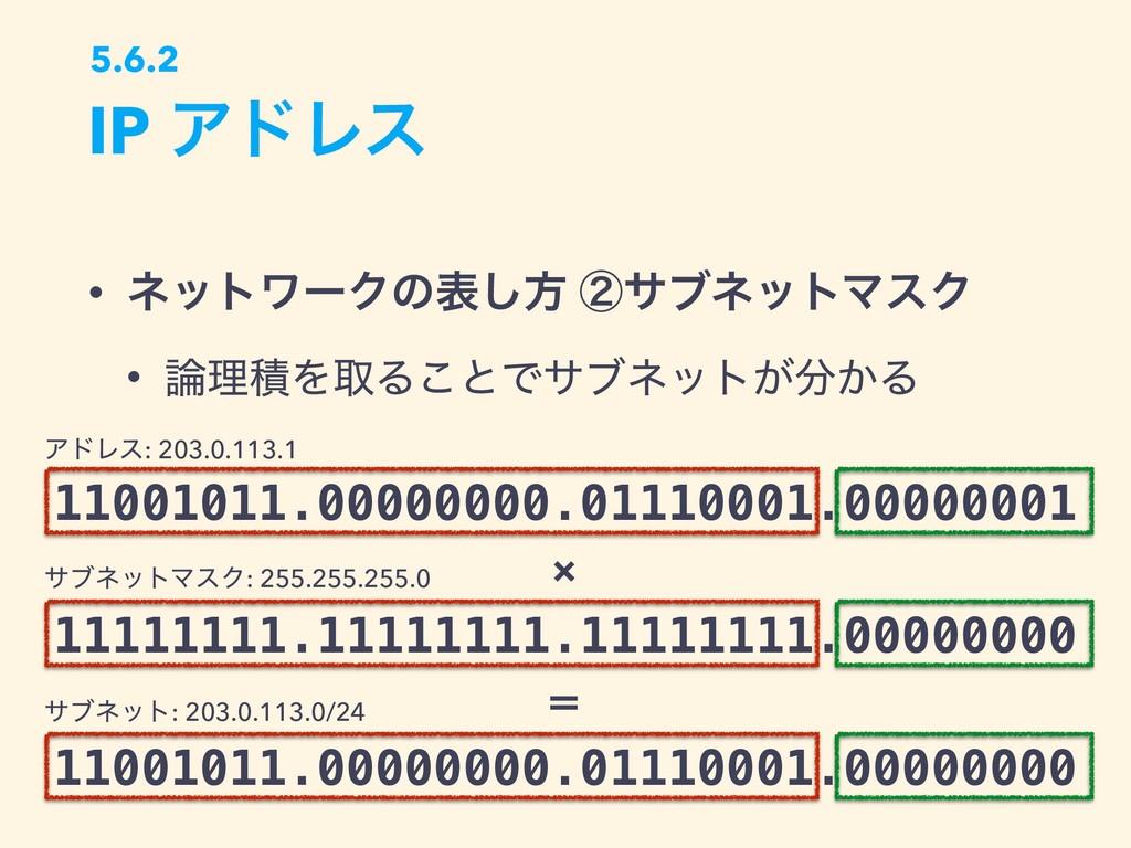 • ωοτϫʔΫͷද͠ํ ᶄαϒωοτϚεΫ • ཧੵΛऔΔ͜ͱͰαϒωοτ͕͔Δ IP ...