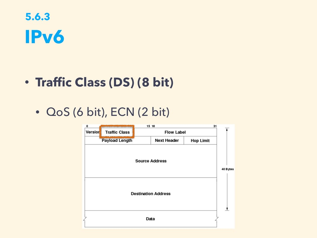 IPv6 5.6.3 • Traffic Class (DS) (8 bit) • QoS (6...