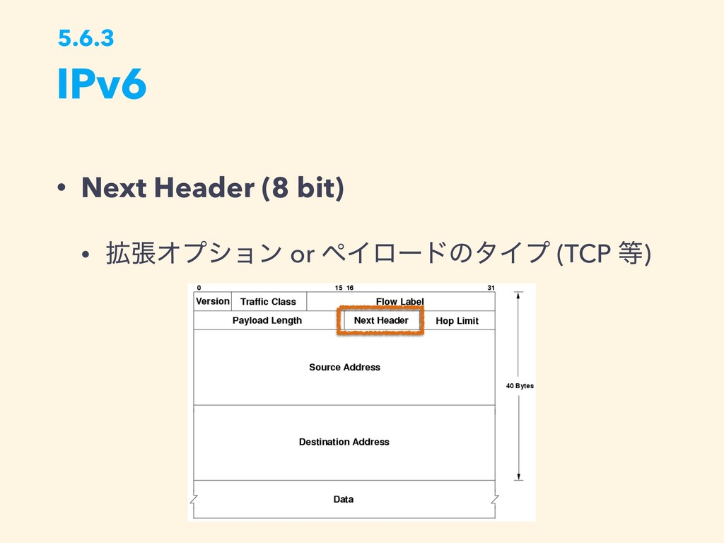 IPv6 5.6.3 • Next Header (8 bit) • ֦ுΦϓγϣϯ or ϖ...