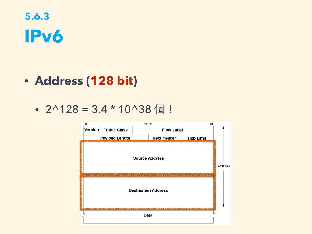 IPv6 5.6.3 • Address (128 bit) • 2^128 = 3.4 * ...