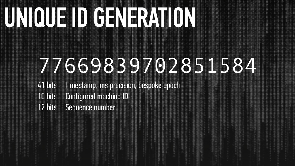 UNIQUE ID GENERATION 77669839702851584 41 bits ...