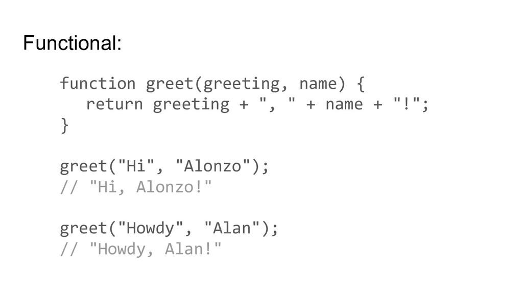 Functional: function greet(greeting, name) { re...