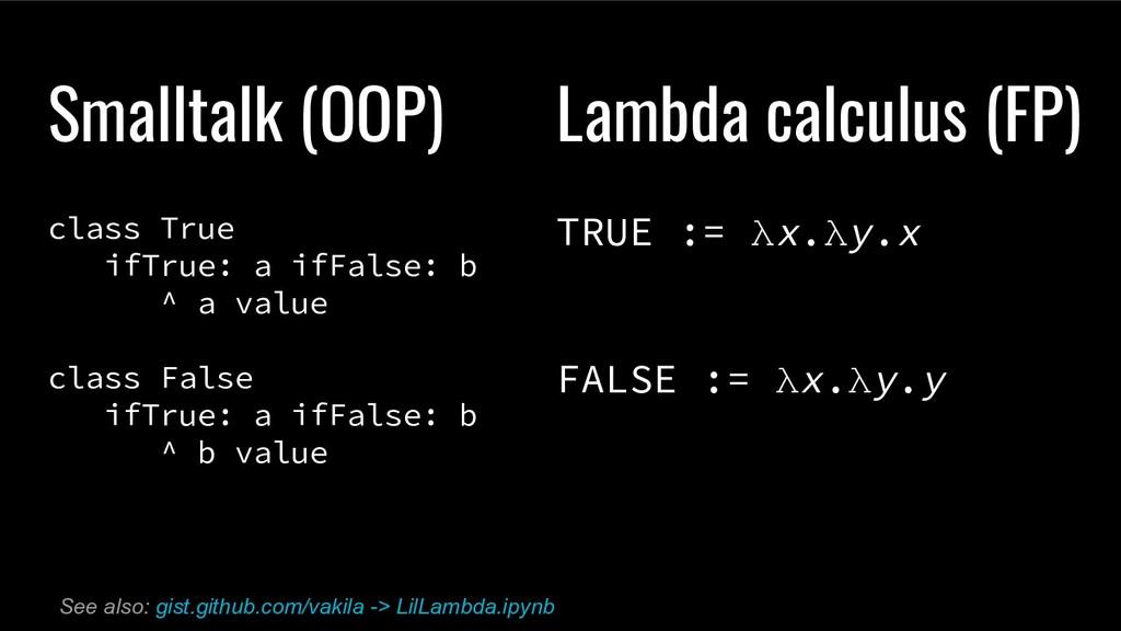 Smalltalk (OOP) class True ifTrue: a ifFalse: b...