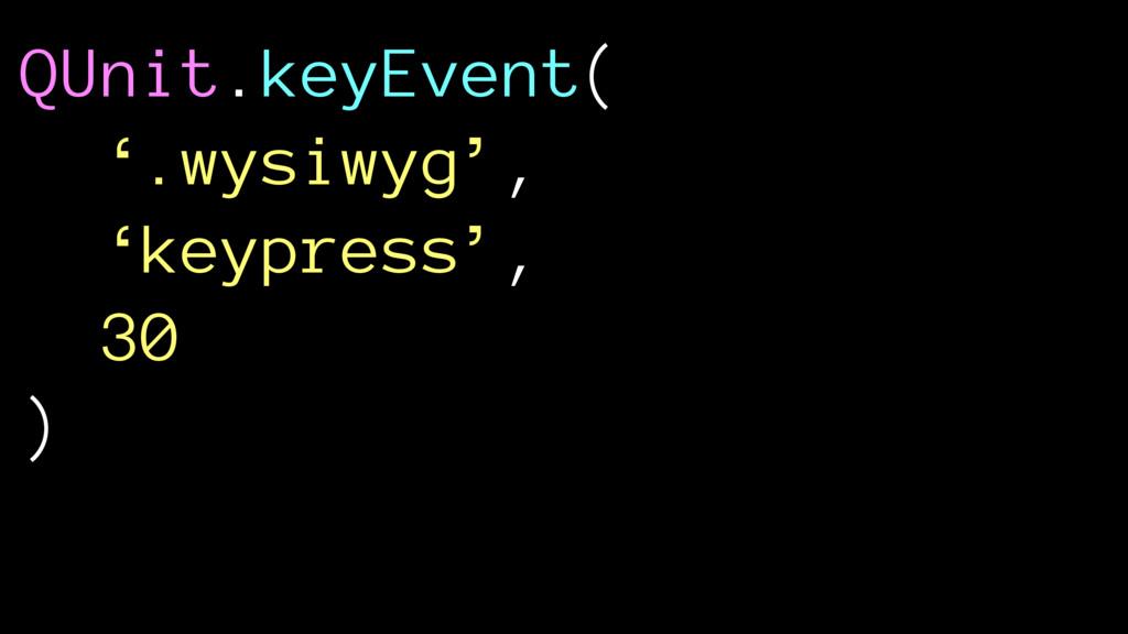 QUnit.keyEvent( '.wysiwyg', 'keypress', 30 )