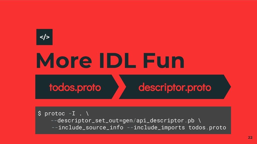 More IDL Fun todos.proto descriptor.proto 22 </...