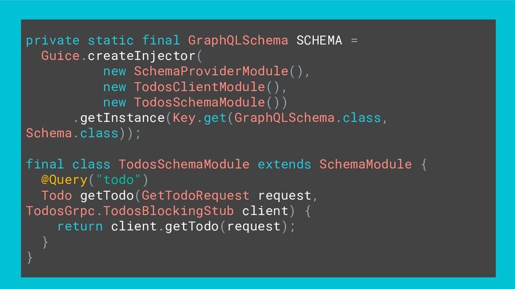 private static final GraphQLSchema SCHEMA = Gui...