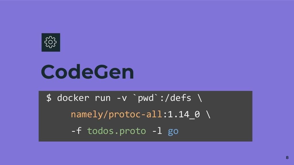 CodeGen 8 $ docker run -v `pwd`:/defs \ namely/...