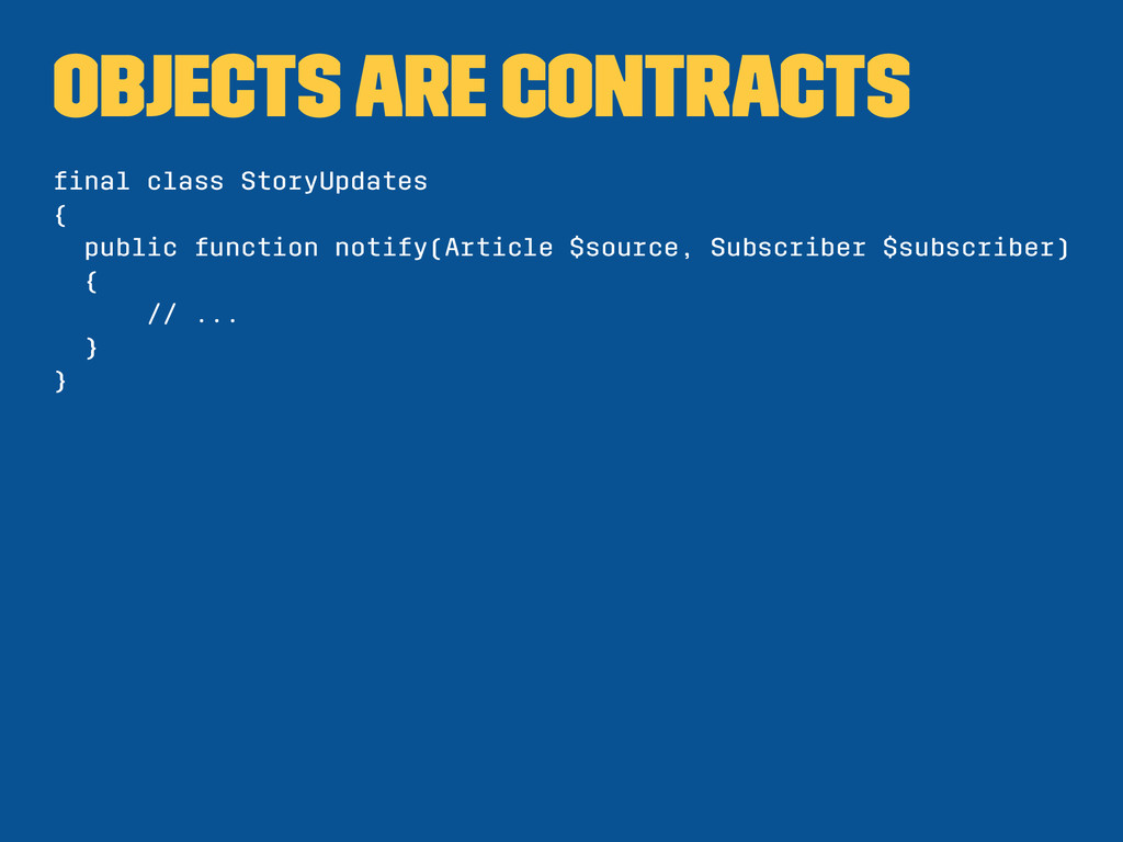 Objects are contracts final class StoryUpdates {...