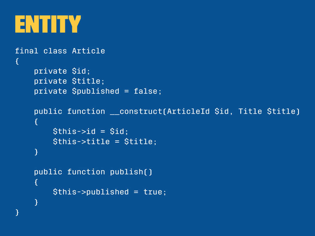 Entity final class Article { private $id; privat...