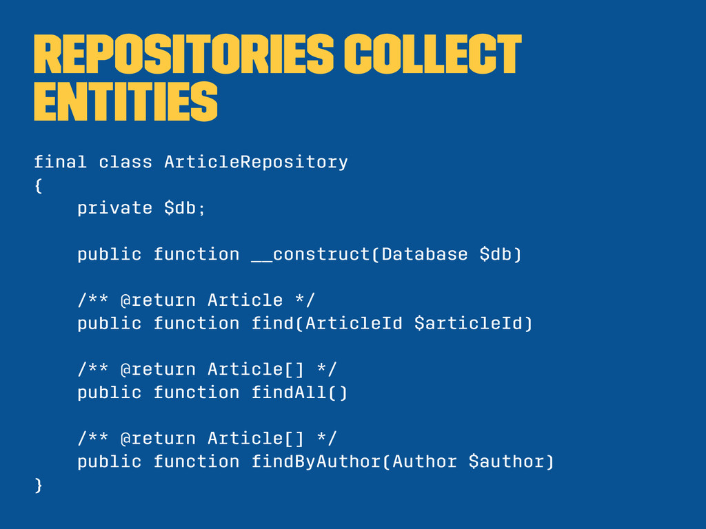 Repositories collect entities final class Articl...