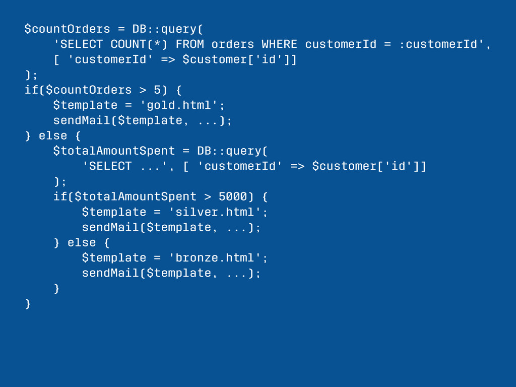 $countOrders = DB::query( 'SELECT COUNT(*) FROM...