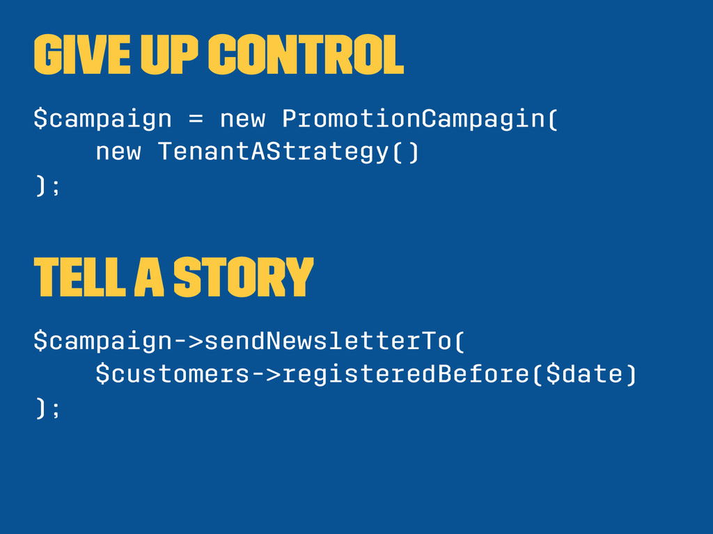 Give up control $campaign = new PromotionCampag...