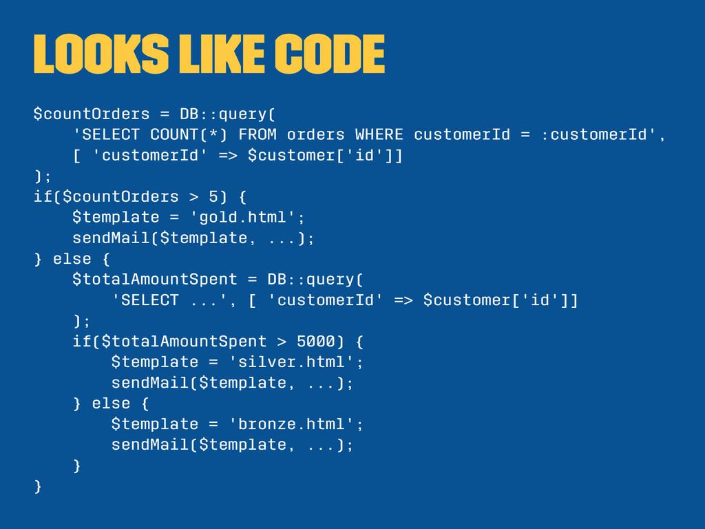 looks like code $countOrders = DB::query( 'SELE...