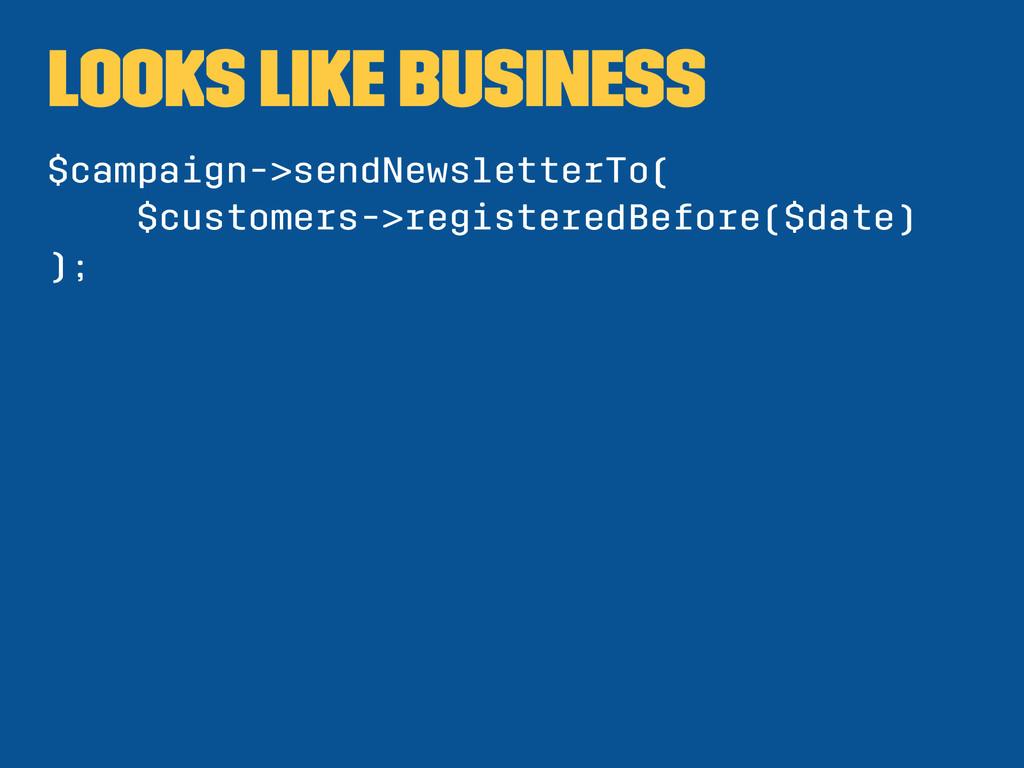 looks like business $campaign->sendNewsletterTo...
