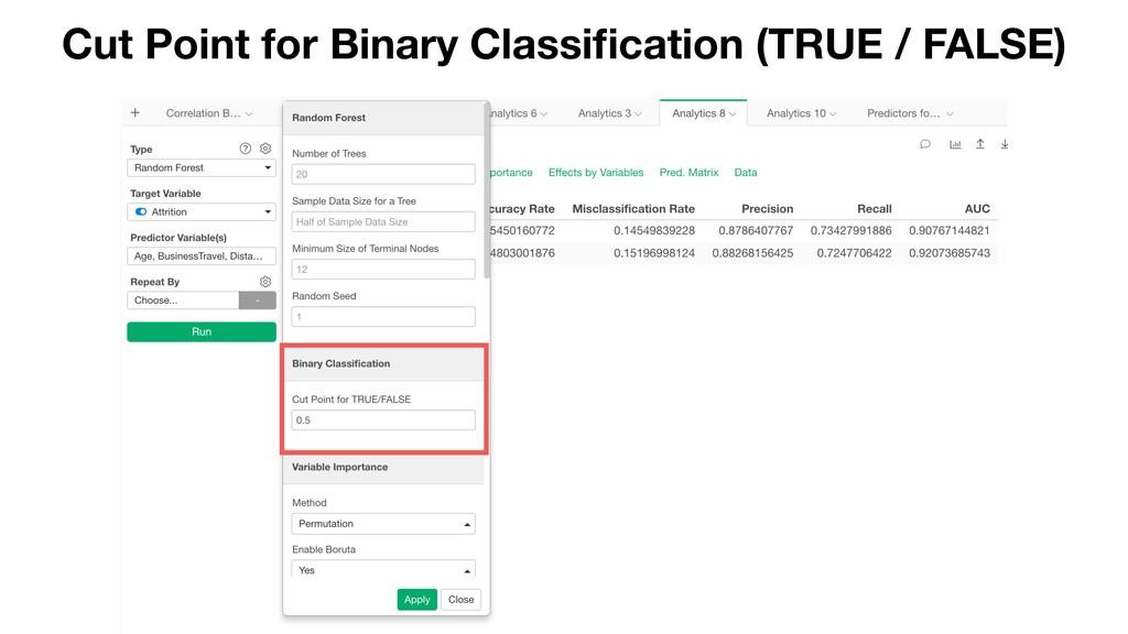Cut Point for Binary Classification (TRUE / FALS...