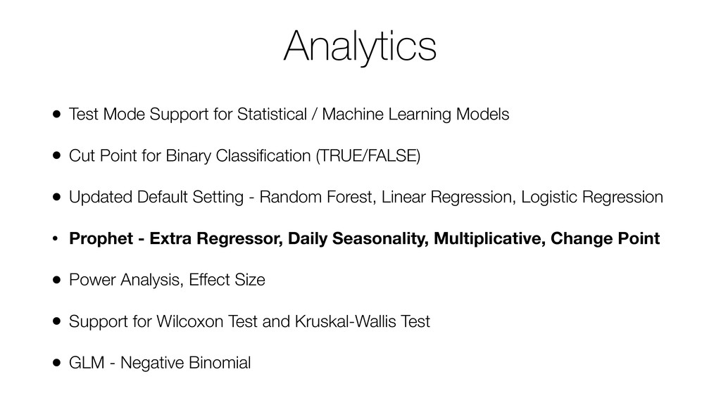 Analytics • Test Mode Support for Statistical /...