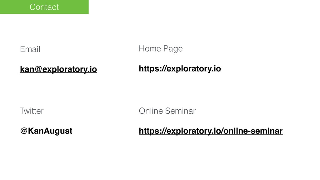 Contact Email kan@exploratory.io Home Page http...