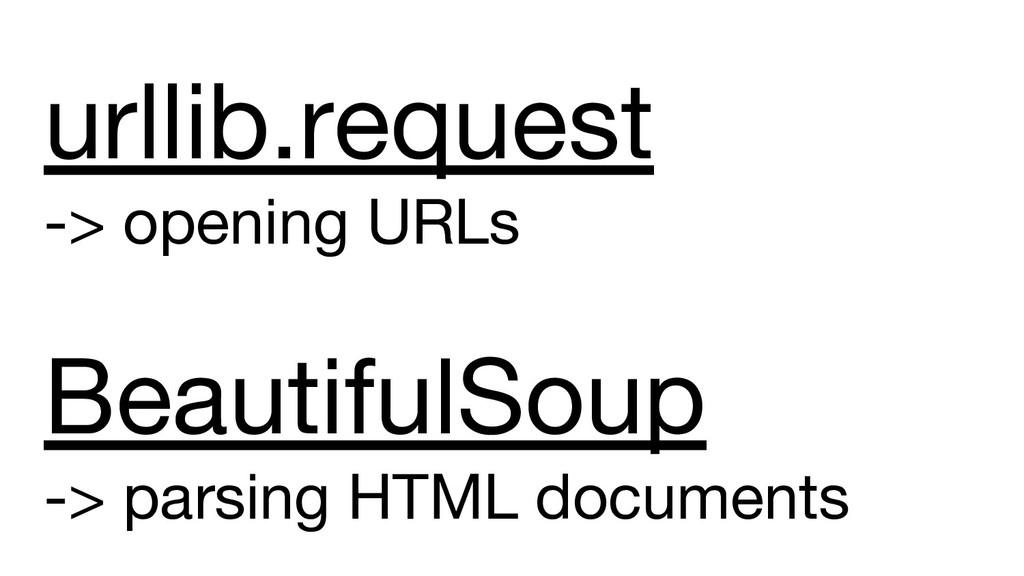 urllib.request -> opening URLs BeautifulSoup ->...