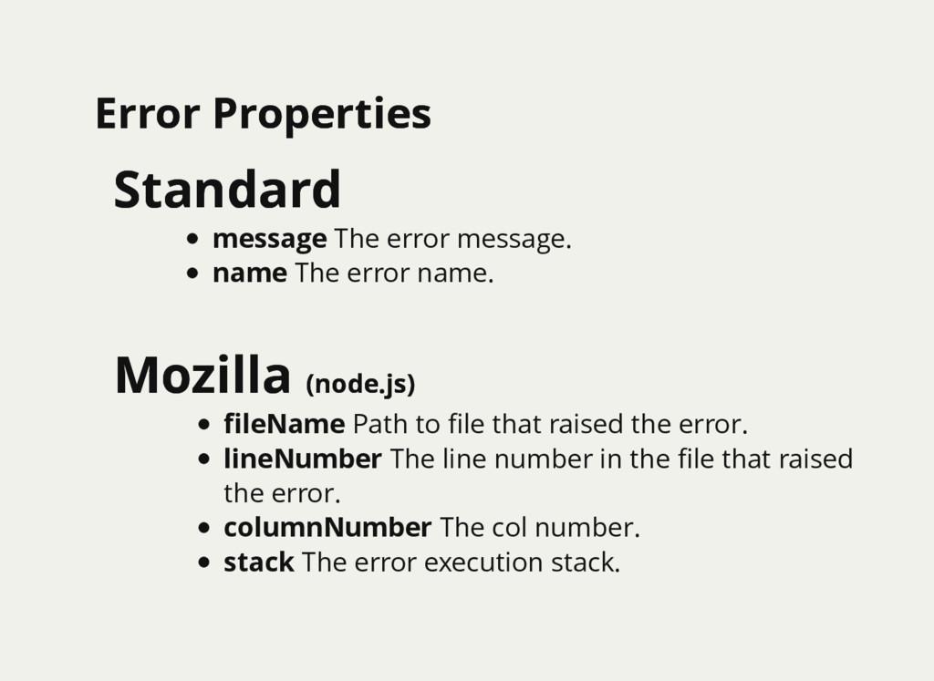 Error Properties Error Properties Standard Stan...