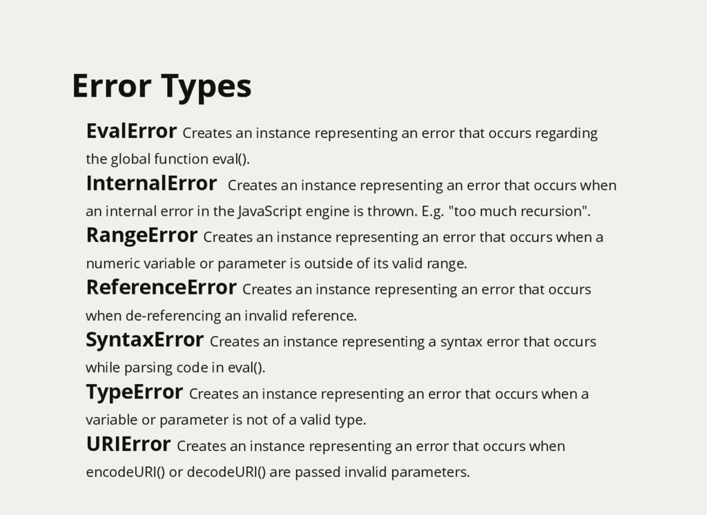 Error Types Error Types EvalError Creates an in...
