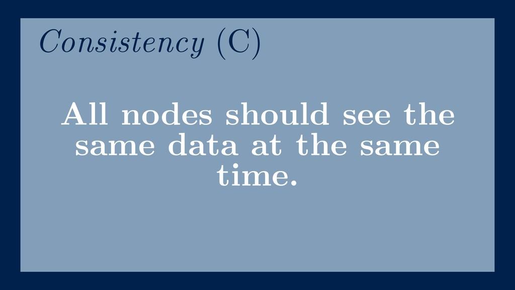 All nodes should see the same data at the same ...