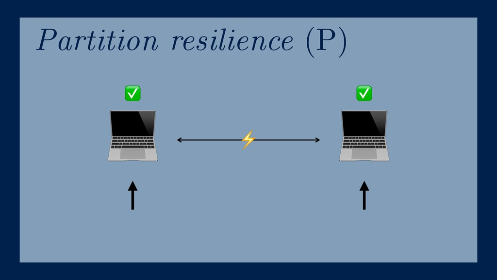 Partition resilience (P)   ⚡ ✅ ✅