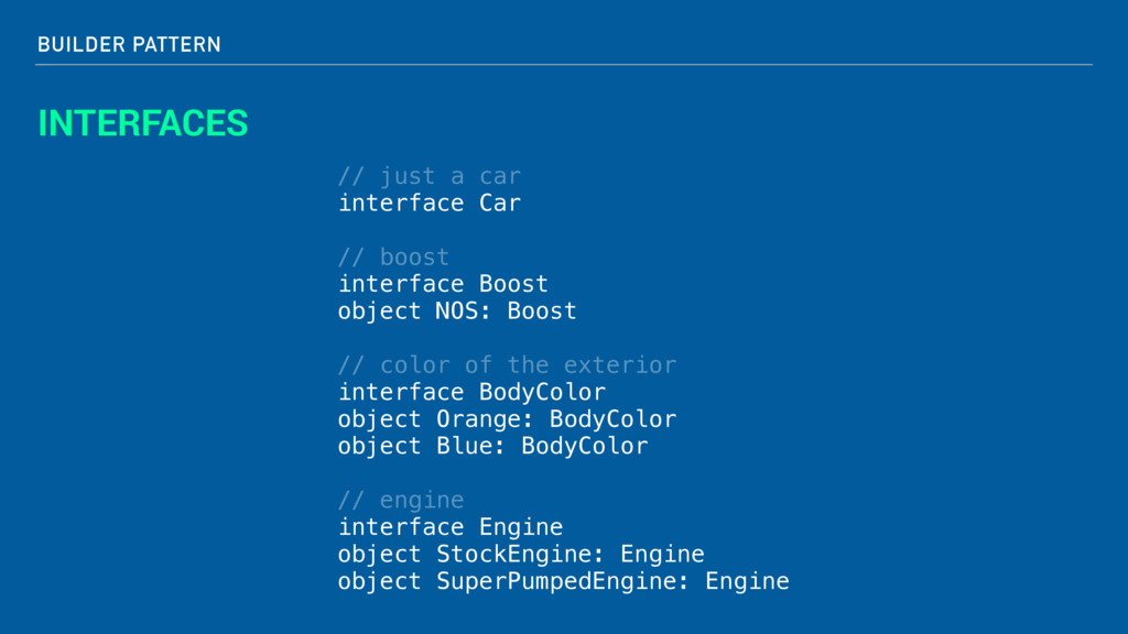BUILDER PATTERN INTERFACES // just a car interf...