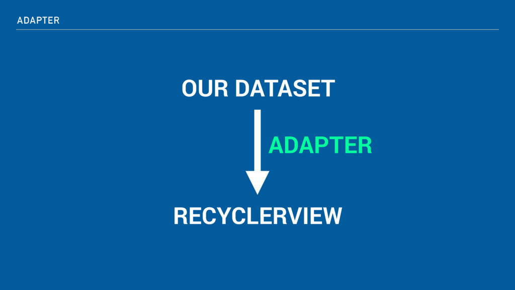 ADAPTER OUR DATASET RECYCLERVIEW ADAPTER