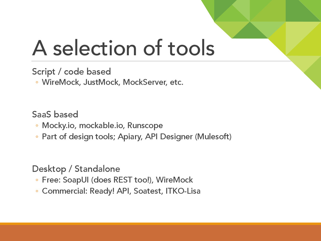 A selection of tools  Script / code based ◦...