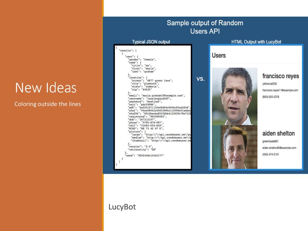 Visualizing :   New ideas  LucyBot  ...