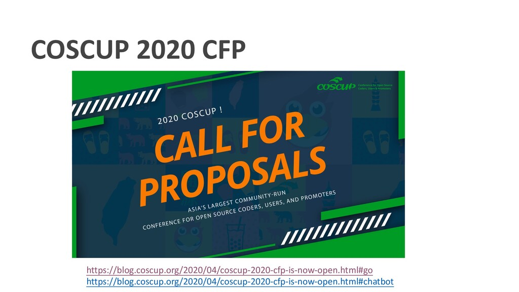 COSCUP 2020 CFP https://blog.coscup.org/2020/04...