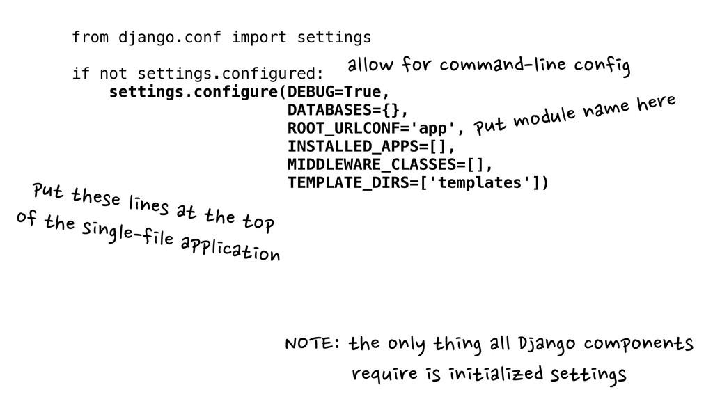 from django.conf import settings ! if not setti...
