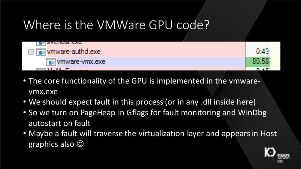 Where is the VMWare GPU code? • The core functi...