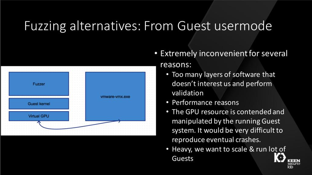 Fuzzing alternatives: From Guest usermode • Ext...