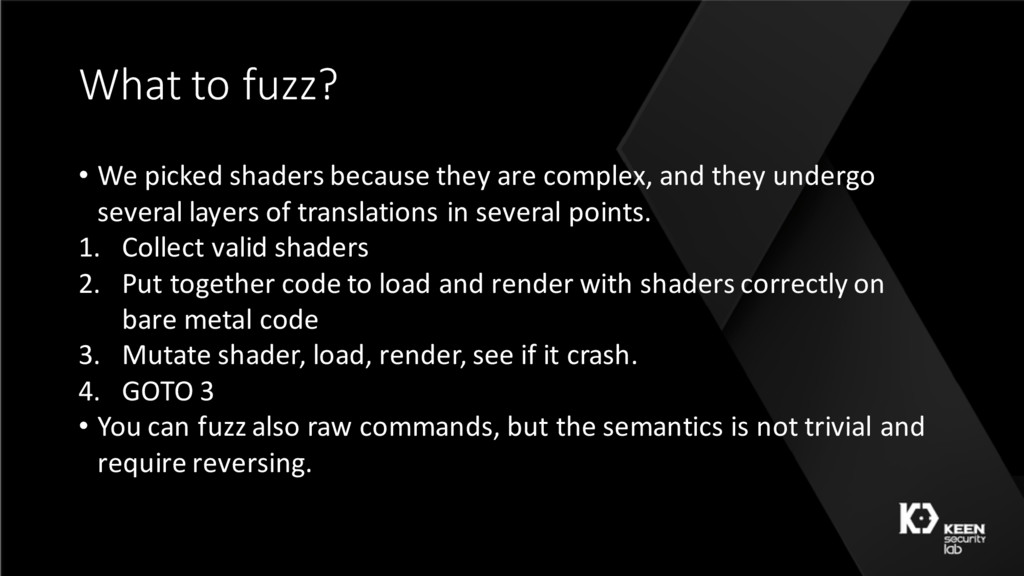 What to fuzz? • We picked shaders because they ...