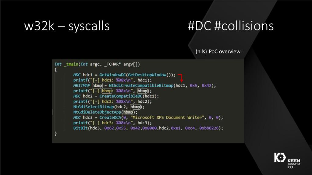 w32k – syscalls #DC #collisions (nils) PoC over...
