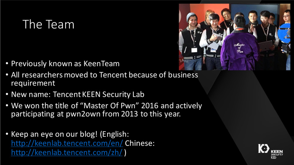 The Team • Previously known as KeenTeam • All r...