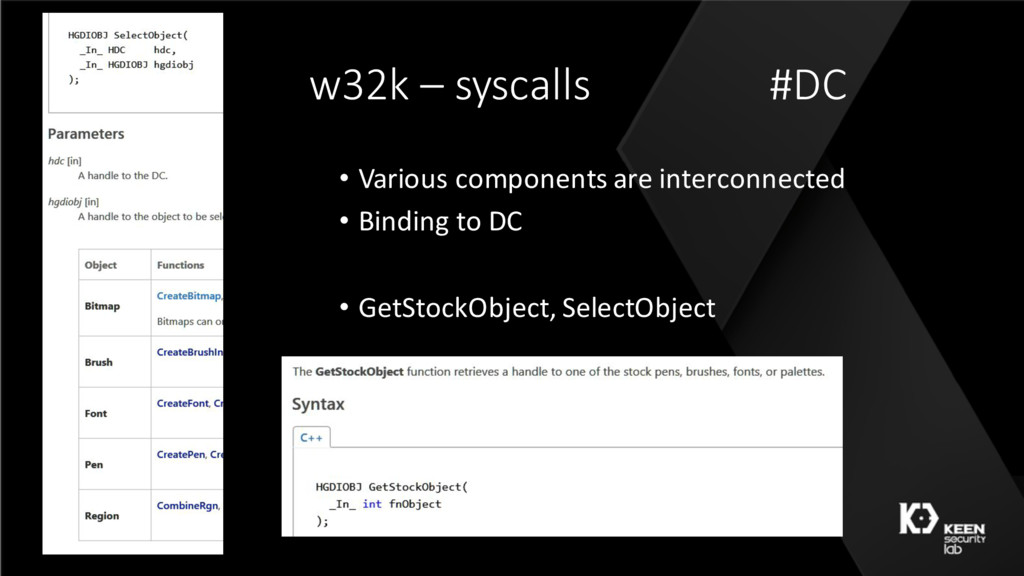 w32k – syscalls #DC • Various components are in...