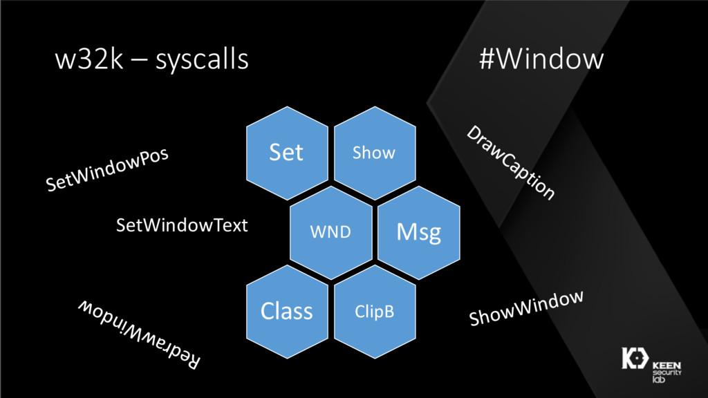 w32k – syscalls #Window Show Set WND Msg ClipB ...