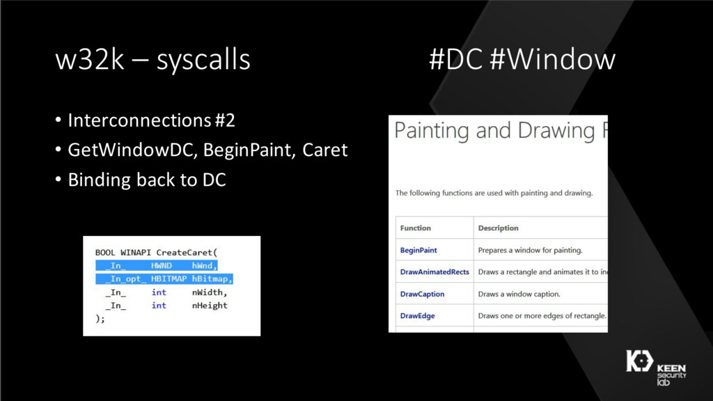 w32k – syscalls #DC #Window • Interconnections ...